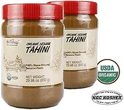 ONETANG Organic Tahini, Stone-Ground Unhulled Sesame Paste Unsalted, Non-GMO, Gluten-Free, Kosher, Peanut-Free, 29.98 Oz (Pack of 2)
