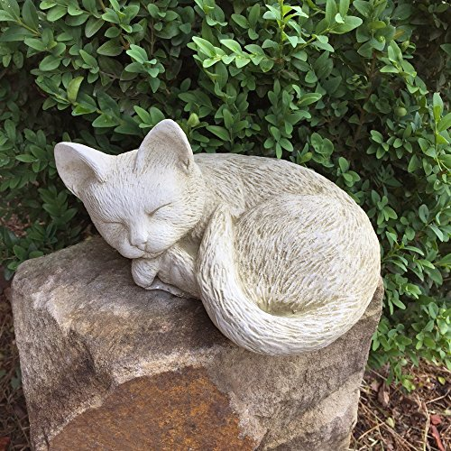 Antikas - Schlafendes Kätzchen - süße Katzen - naturgetreue Katzenfiguren Fensterbank Steinguss