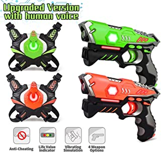Infrared Laser Tag, Upgraded Blasters Gun Toys with Vest Infrared Battle Mega Pack Set of 2 Indoor and Outdoor, Group Activity Fun for Kids Age 6 7 8 9 10 11 12+ Boys Girls by kidpal