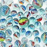 PhiLuMo 5 x 20 + 1 Glasmurmeln/Murmeln - Ø 16 & 25 mm groß - ideal für Geburtstage & Murmel Boule