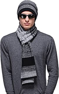 e2667e24 Kagogo Men's Stylish Australian Wool Winter Warm Striped Scarf and Hat Set