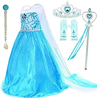 Moonmen Queen Dress Girls Party Cosplay Girl Clothing Snow Queen Birthday Princess Dress Kids Costume Blue Costume With Ac...
