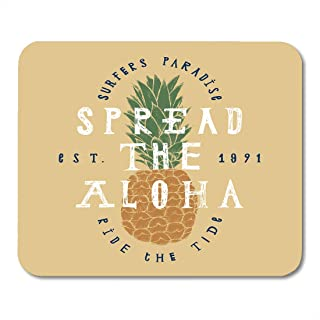 Alfombrillas de ratón Hand Spread The Aloha Pineapple Surfers Paradise Ride Tide Surfing Lettering Pattern Mouse Pad Mats 9.5
