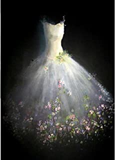 KERIQI 5D DIY Full Diamond Painting by Number Kits, Full Drill Paintings Pictures Arts Craft for Home Wall Decor - White Wedding Dress 19.7 x 23.6 Inch