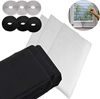 Osuter 6PCS Malla Mosquitera para Ventanas Suave Anti Mosquitos Ventana Denso Cutable con 6 Rollos de Velcro Autoadhesivo para Ventana(negra y blanco)