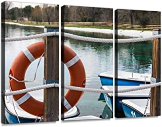 BELISIIS Orange Life Buoy on The pier Wall Artwork Exclusive Photography Vintage Abstract Paintings Print on Canvas Home Decor Wall Art 3 Panels Framed Ready to Hang