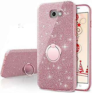 Galaxy A5 2017 Case,Silverback Girls Bling Glitter Sparkle Cute Phone Case with 360 Rotating Ring Stand, Soft TPU Outer Co...