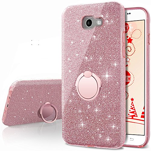 Galaxy A7 2017 Case,Silverback Girls Bling Glitter Sparkle Cute Phone Case with 360 Rotating Ring Stand, Soft TPU Outer Cover + Hard PC Inner Shell Skin for Samsung Galaxy A7 2017 -Rose Gold