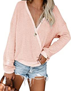 ETCYY Women's Wrap V Neck Sexy Oversized Sweater for Women Baggy Batwing Knit Pullover Casual Long Sleeve Jumper Tops