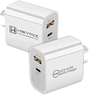 HEYMIX 20W PD Charger 2-Pack USB-C Power Adapter QC3.0 Charger AU-Plug SAA Certificated