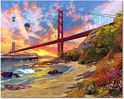Bougimal Dipingere con i Numeri Adulti Golden Gate Bridge, Decorazione della casa senza Telaio 40 * 50 cm