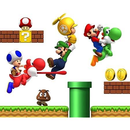 Super Mario Bros Repositionable Boys Bedroom Wall Stickers Amazon Co Uk Diy Tools