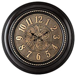 Pacific Bay Rodalben Giant Decorative Light-Weight 24-inch Wall Clock Silent, Non-Ticking, 3-D Aluminum Dial, Easy-to-Read, Quartz Battery Operated, Glass Face Cover - Perfect