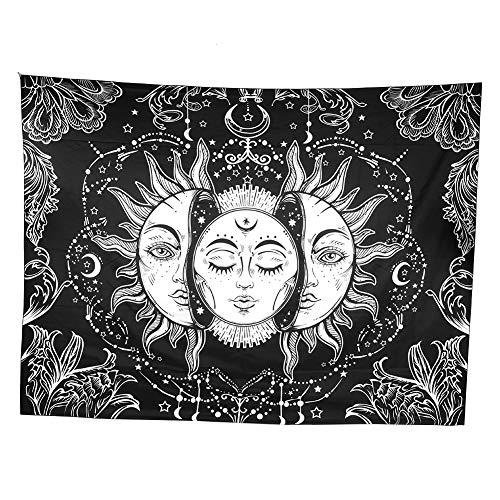 Poliéster estilo bohemio Sol y luna Tapices de cara misteriosa Manta colgante de pared Alfombra Tapiz de estilo profundo para la decoración del dormitorio en el hogar(2#)