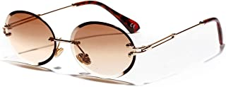 Neutral Rimless Retro Oval Sunglasses (Color : Brown)