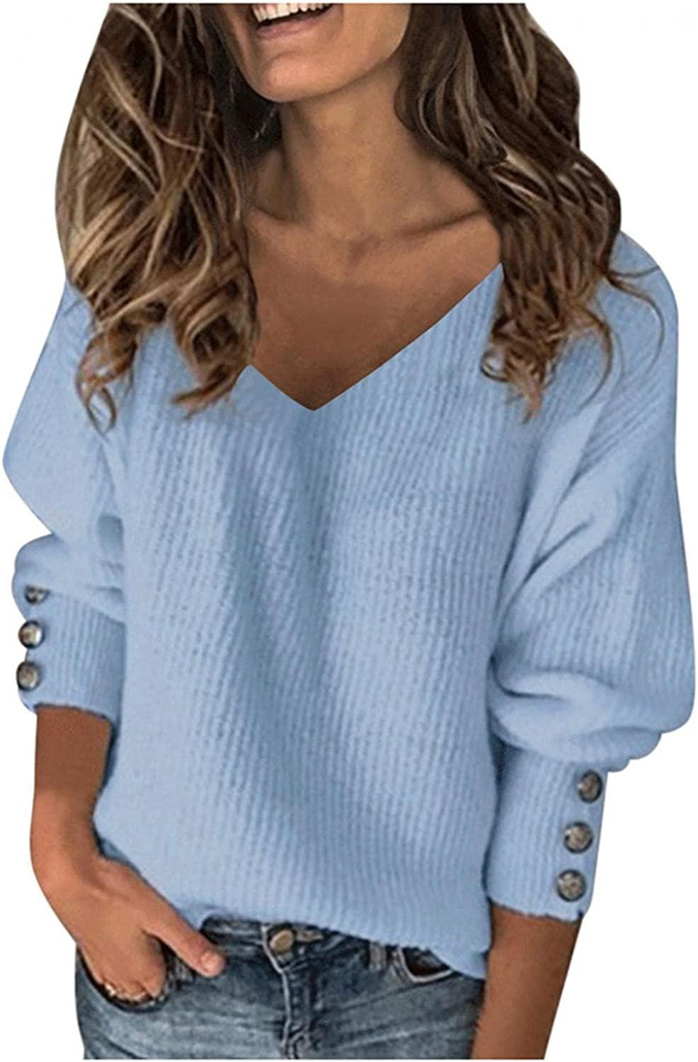 Sweaters for Women Casual Drop Shoulder Long Sleeve Knit V Neck Button Sexy Pullover Sweaters