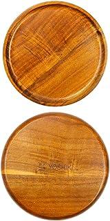 【天然素材】YOSHIKI良木工房木製 プレート 2本セット 丸形 卵型 お盆 ウッドプレートアカシア 天然木 割れにくい 軽量 食器 おしゃれ (丸形) YK-APA2