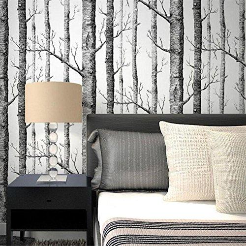 Papier peint Rouleau Fond d'écran Décor Abstrait noir et blanc branches intissé papier peint arbre tronc d'arbre forêt de bouleaux salon TV fond d'écran mural 0.53 * 10 m