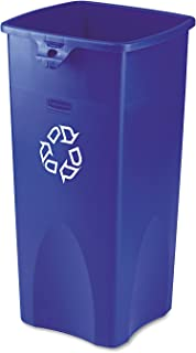Rubbermaid Commercial FG356973BLUE Rectangular 23-Gallon Untouchable Recycling Container, Blue