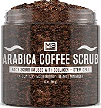 M3 Naturals Arabica Coffee Scrub Souffle Infused with Collagen and Stem Cell Natural Body and Face Scrub for Acne Cellulite Stretch Marks Spider Veins Scars Skin Care Exfoliator 12 oz