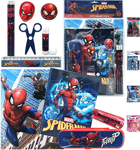 New Marvel Superheroes Spiderman All-in-One Stationery Set - Included Pencils Eraser Notebook Case Folders Ruler Sharpener Scissor - Back to Pre School Kindergarten Education Supplies for Kids Boys