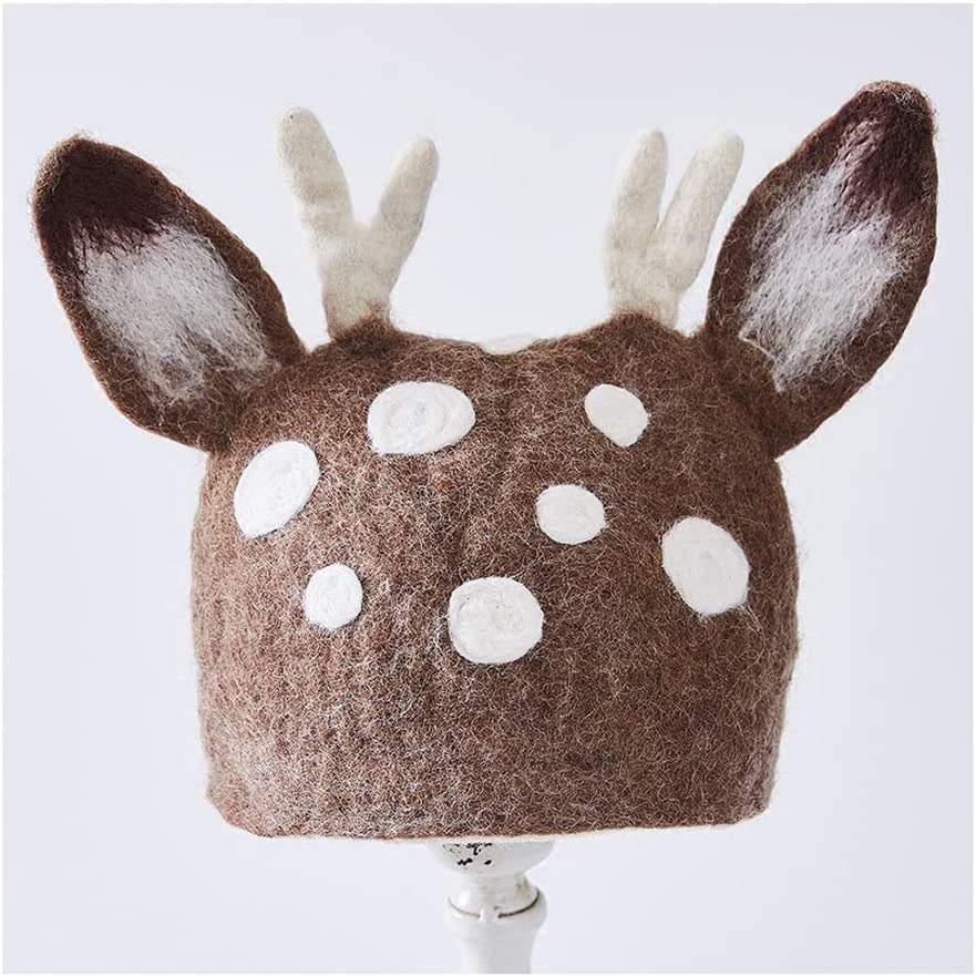 no-branded Handmade Animal Head Cap Felt Wool Cap Berets Lady Gift Forest Lovely Hat ZRZZUS (Color : 1, Size : 56-58CM)