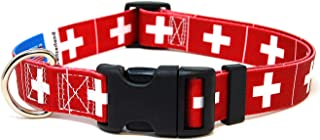 PatriaPet Dog Collar with The Switzerland Flag   Great for National Holidays, Special Events, Festivals, Independence Days and Every Day Strong Safe   XSmall Small Medium Large XLarge