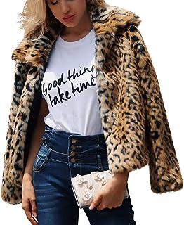 71a2c6fcb072b Parkside wind Women s Faux Fur Leopard Print Coat Jacket Elegant Casual Warm  Winter Autumn Thick Outerwear