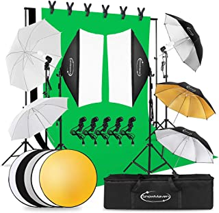 ShowMaven Lighting Kit Photography, 6.5ft x 10ft Background Support System and Umbrellas Softbox Continuous Lighting Kit f...