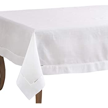 2 Colors Fennco Styles Holiday Drawn Work Thread Design Tablecloth White, 72x108 Tablecloth