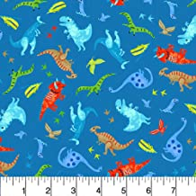Fabric Dinosaur Skeletons on Grey Flannel by the 1//4 yard