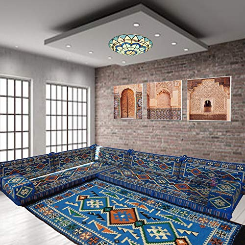 SHI_C242 - Cojines de suelo para sofá de esquina, color azul