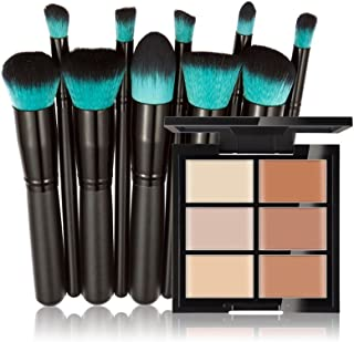 Pure Vie 6 Colors Cosmetics Cream Contour and Highlighting Makeup Kit, Color Correcting Cream Concealer Palette #2 + 10 Pcs Synthetic Foundation Powder Concealer Eye Shadows Makeup Brushs