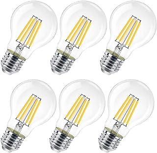 Bombilla LED E27, 10 W (equivalente a 100 W), 1200 lúmenes, transparente luz cálida - Paquete de 6