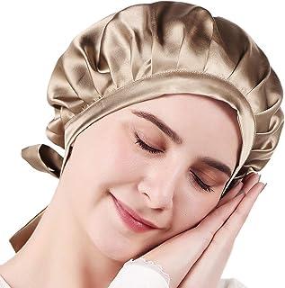 ツルワ ナイトキャップ 6Aクラスシルク100% 19匁 ヘアキャップ お休みキャップ 美髪 摩擦軽減 頭皮保湿 ツヤ髪 就寝用 産後用 紐付き サイズ調整可能 ロングヘア対応 コーム付き
