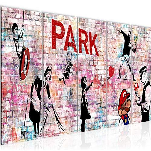 Cuadro en Lienzo Banksy Collage 200 x 80 cm - XXL Impresió