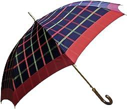 NOBEL(ノーベル) レディース 雨傘 長傘 日本製 ジャンプ ワンタッチ 8本骨 甲州産先染め朱子格子織り 大格子柄 日本製雨傘