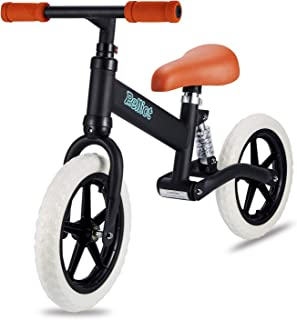 PELLIOT Balance Bike-12 Wheels Light Weight No-Pedal Toddlers Walking Bicycle for Children Age 3-6 (Black)