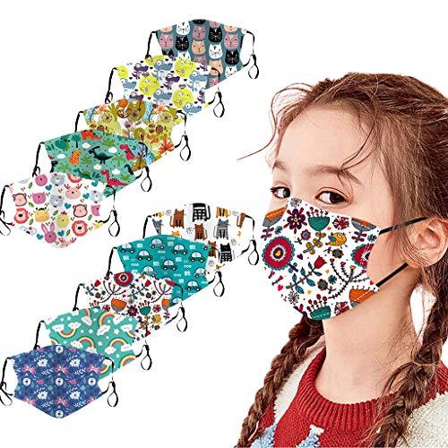 10 Stück Kinder Mundschutz Multifunktionstuch 3D Cartoon Druck Maske Animal Print...