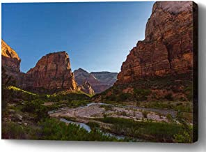 YUNLOY Canvas Wall Print Framed for Home Walls Decor Morden Decoration 20x14 Angel's Landing Zion National Park Utah Natur...