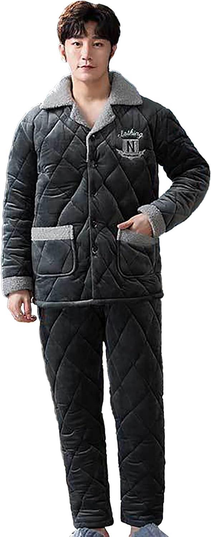 WIITON Pajama Set Men Long Sleeve Solid Color Flannel Coral Fleece Thicken Winter Homewear Two Piece Suit