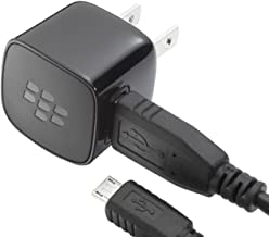 Blackberry Home Wall Travel Adapter with Micro USB Data Sync Cable for Blackberry Curve 8520 8530 8900 3G 9300 9330 9500 Storm 9530 Storm 2 9550 9520 Tour 9630 Style 9670 Bold 9650 9700 9780 Torch 9800 Bold 9900 - Non-Retail Packaging - Black