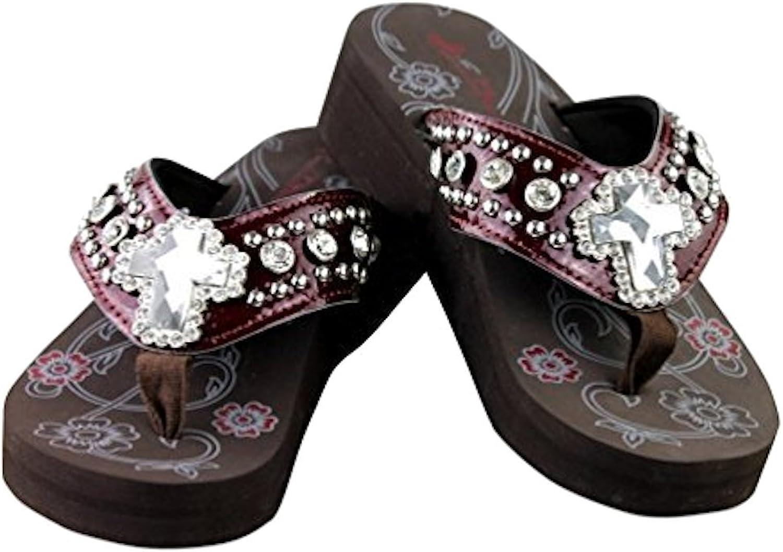 Montana Montana Montana West ny kvinnor Rhinestone Concho Flip Flop Bling Sandals, stövlar, skor and handväskas, Texas Pride Collection, Western and More.(6 B (M) US, CrossBling  Burgundy)  noll vinst