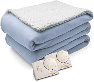 Biddeford Comfort Knit Natural Sherpa Electric Heated Blanket King Parade Blue