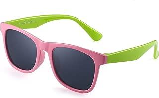 偏光儿童太阳镜橡胶男孩女孩儿童柔性眼镜适合 3-12 岁儿童