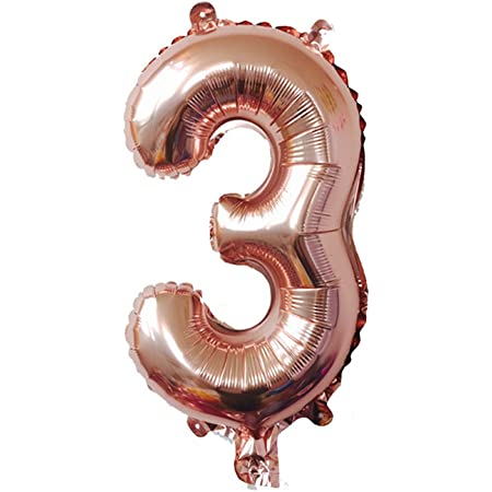 Amazon Com 32 Rose Gold Number Digit Balloons Aluminum Foil Film Mylar Balloon New Year Engagement Birthday Party Anniversary 32 Number 3 Toys Games