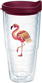 Tervis Multi-Color Flamingo Tumbler with Emblem and Maroon Lid 24oz, Clear