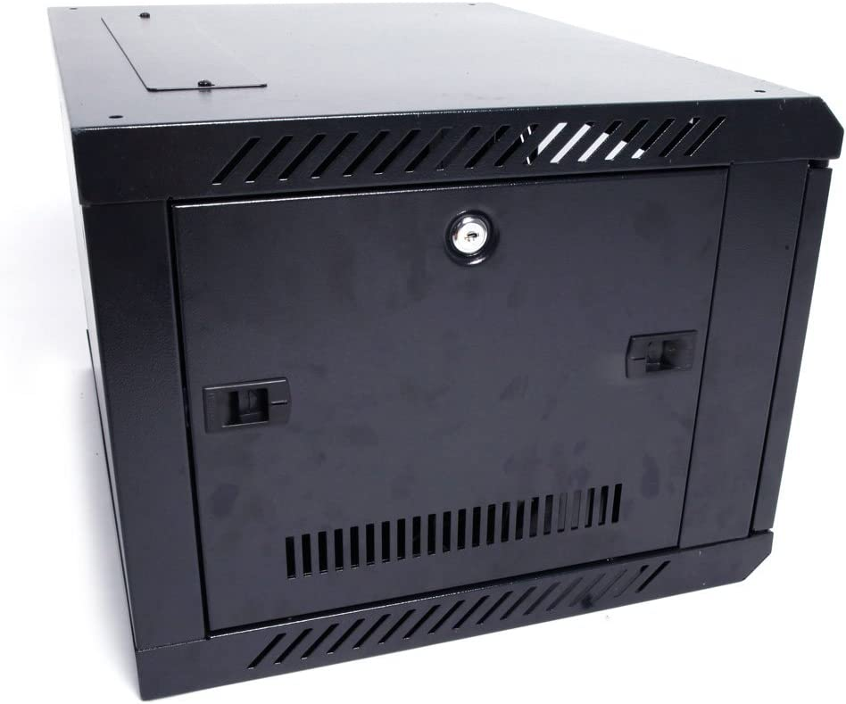 TUFFIOM 6U Casters Network Cabinet Enclosure, Wall Mount Network Enclosuren with 21.65 x 17.72 x 13.78Inch (Fully Assembled, Cooling Fan, Locked Door)