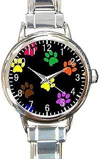 Paw Print Dog Paw Custom Womens Round Charm Bracelet Wrist Watch