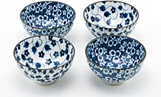 Hinomaru Collection Authentic Japanese Porcelain Rice Bowl Set of 4 Nippon Blue Momiji Kiku Gift Set Made in Japan (4.75D x 2.5H)